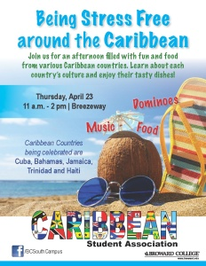 Being Stress Free around the Caribbean Fo o d Dominoe s Mu s i c Caribbean Countries being celebrated are Cuba, Bahamas, Jamaica, Trinidad and Haiti Join us for an afternoon filled with fun and food from various Caribbean countries. Learn about each country's culture and enjoy their tasty dishes!