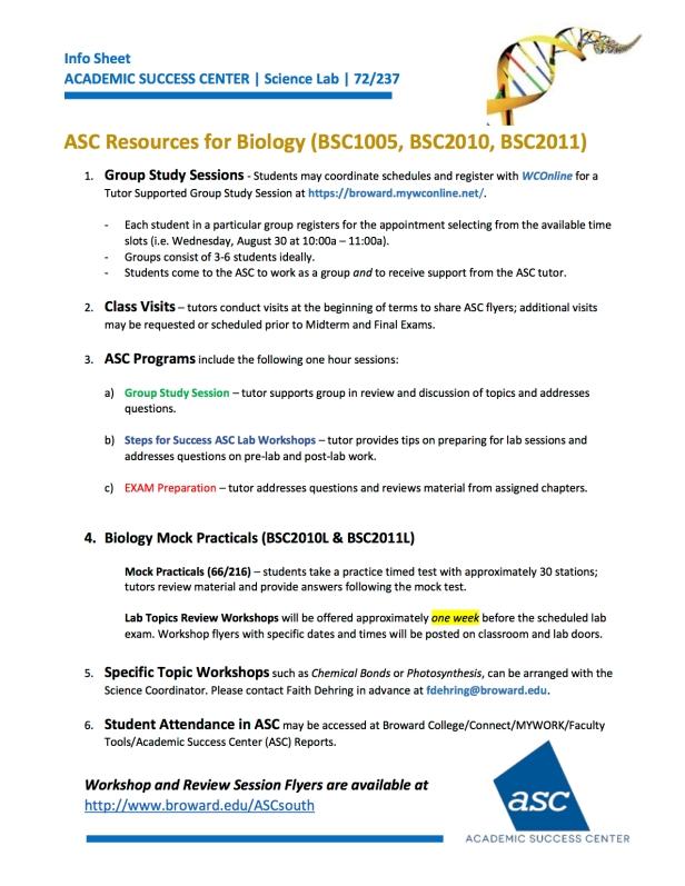 BIOLOGY RESOURCES Science Dept Breakout Aug2017_v1