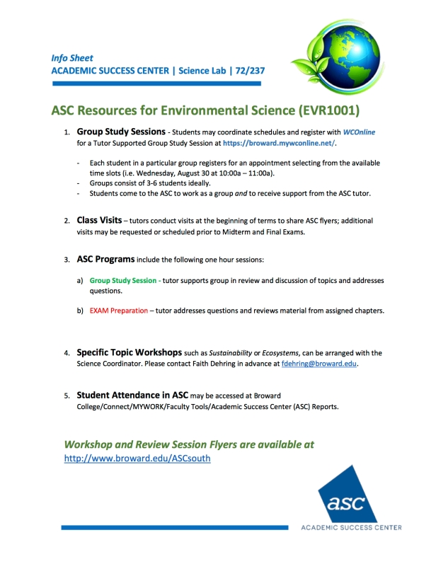 ENVIRONMENTAL SCIENCE RESOURCES Science Dept Breakout Aug2017_v1