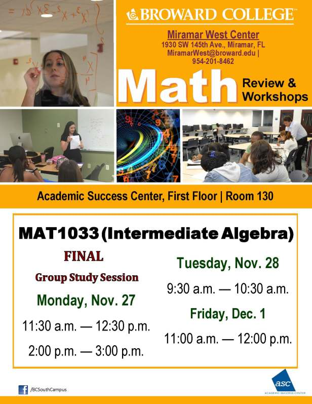 MAT1033_ REVIEW_MWC_FINAL TUTOR GUIDED STUDY SESSIONS_NOV 27-28-DEC 01