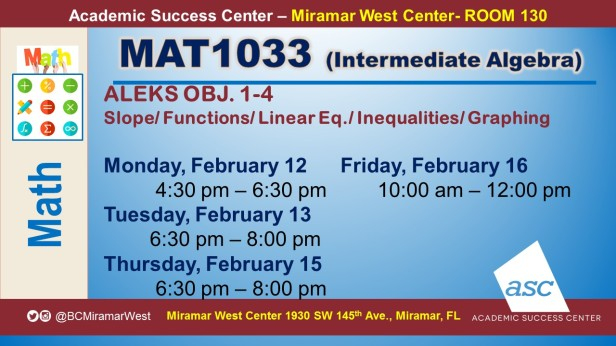 MAT1033_GROUP STUDY SESSION_MWC_ FEB 12-13-15-16_SLIDE
