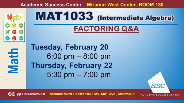 MAT1033_GROUP STUDY SESSION_MWC_ FEB 20_SLIDE