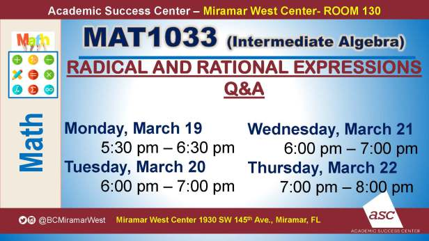 MAT1033_GROUP STUDY SESSION_MWC_ MARCH 19-22_SLIDE