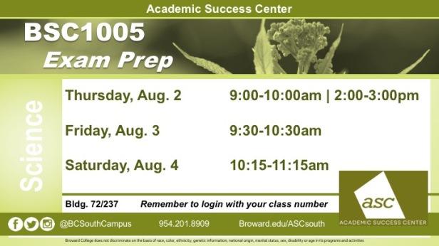 BSC1005 FINAL Exam Prep Aug2018