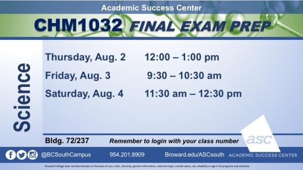 CHM1032 FINAL Exam Prep Aug2018
