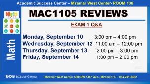 MAC1105_EXAM REVIEW_MWC_ SEP 10-12-13-14_SLIDE