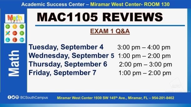 MAC1105_EXAM REVIEW_MWC_ SEP 4-5-6-7_SLIDE