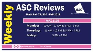 MAC1105 Fall 2018 TV
